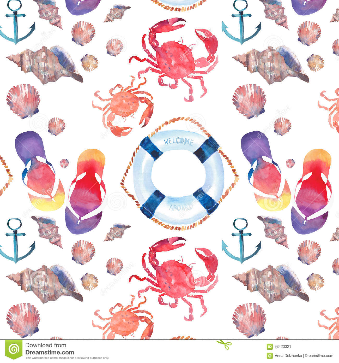 28726c2fd2f Beautiful bright colorful lovely summer marine beach pattern of flip flops  red crabs pastel cute seashells blue lifebuoy and dark blue anchor  watercolor ...