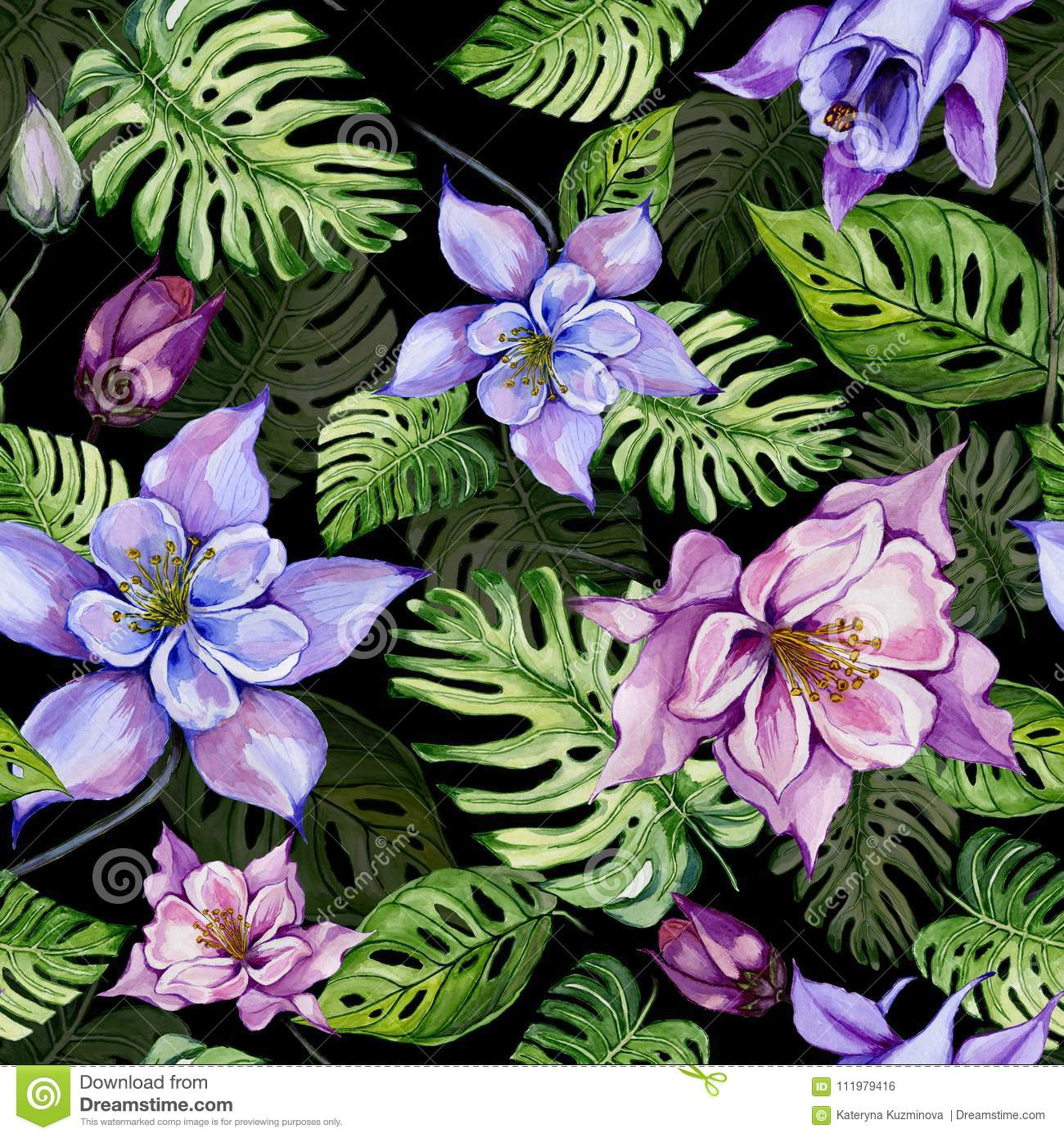 Beautiful bright columbine flowers or aquilegia and exotic monstera beautiful bright columbine flowers or aquilegia and exotic monstera leaves on black background watercolor painting tropical seamless floral pattern izmirmasajfo Image collections