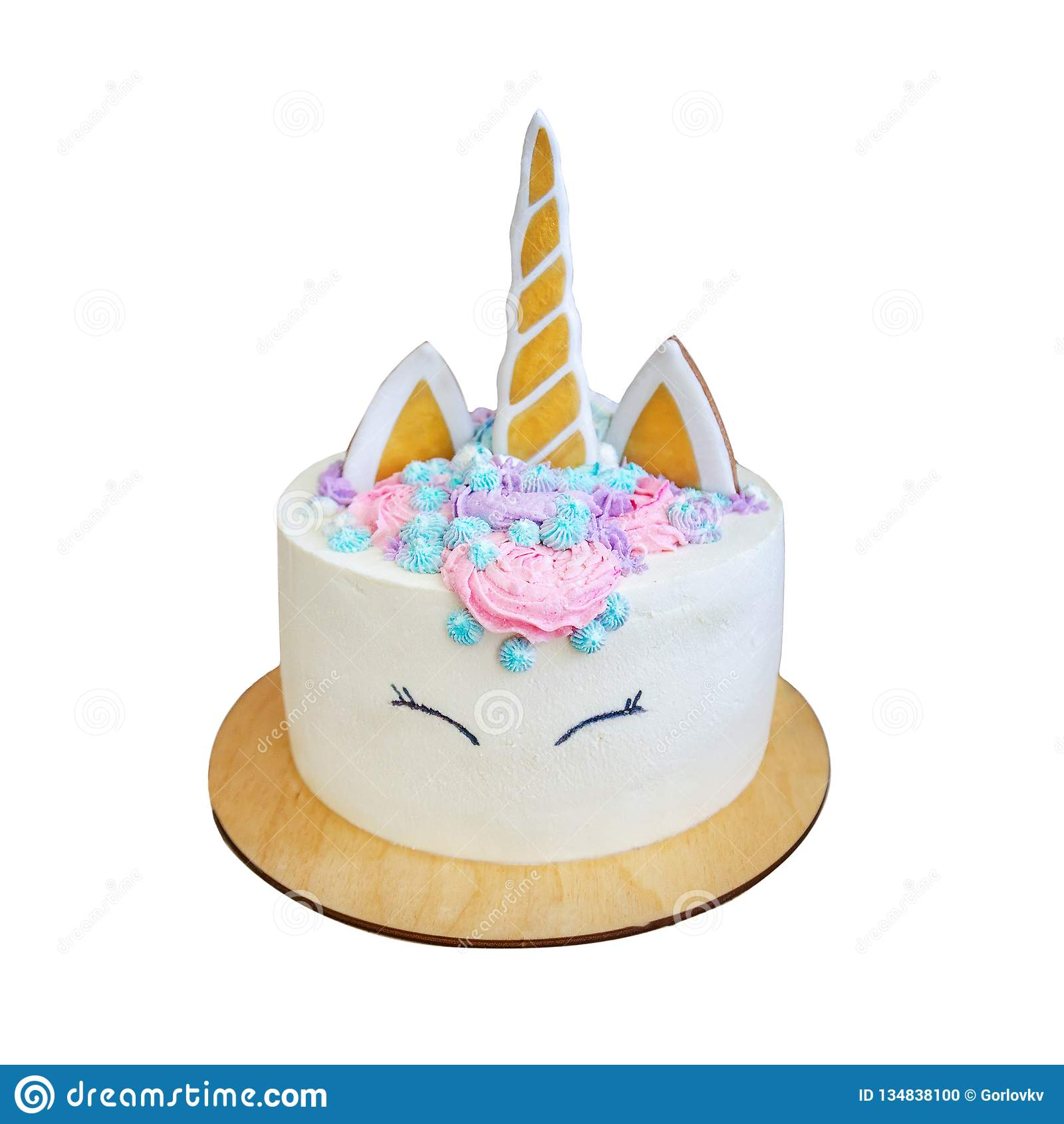 Beautiful Bright Delicious Birthday Cake For Girls Decorated In Form Of Fantasy Unicorn Isolated On White