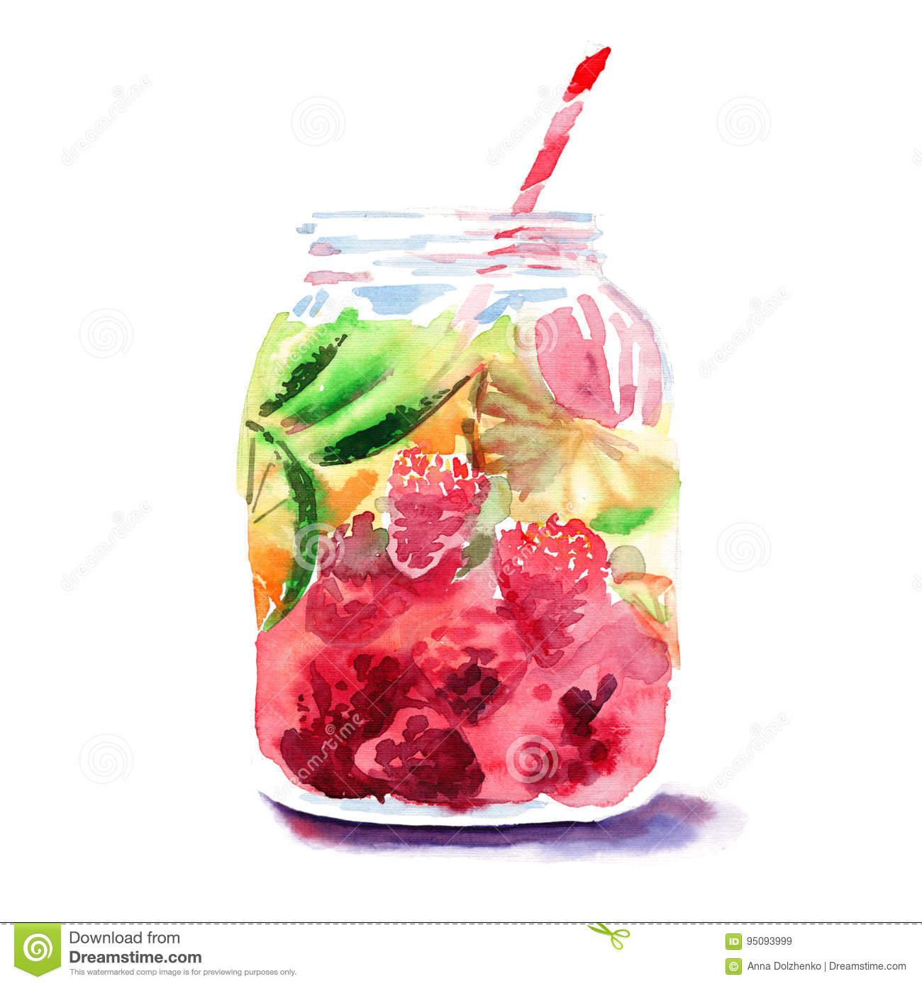 Beautiful bright fresh tasty juicy delicious lovely cute colorful detox bank with red mulberries, ripe green limes and oranges and