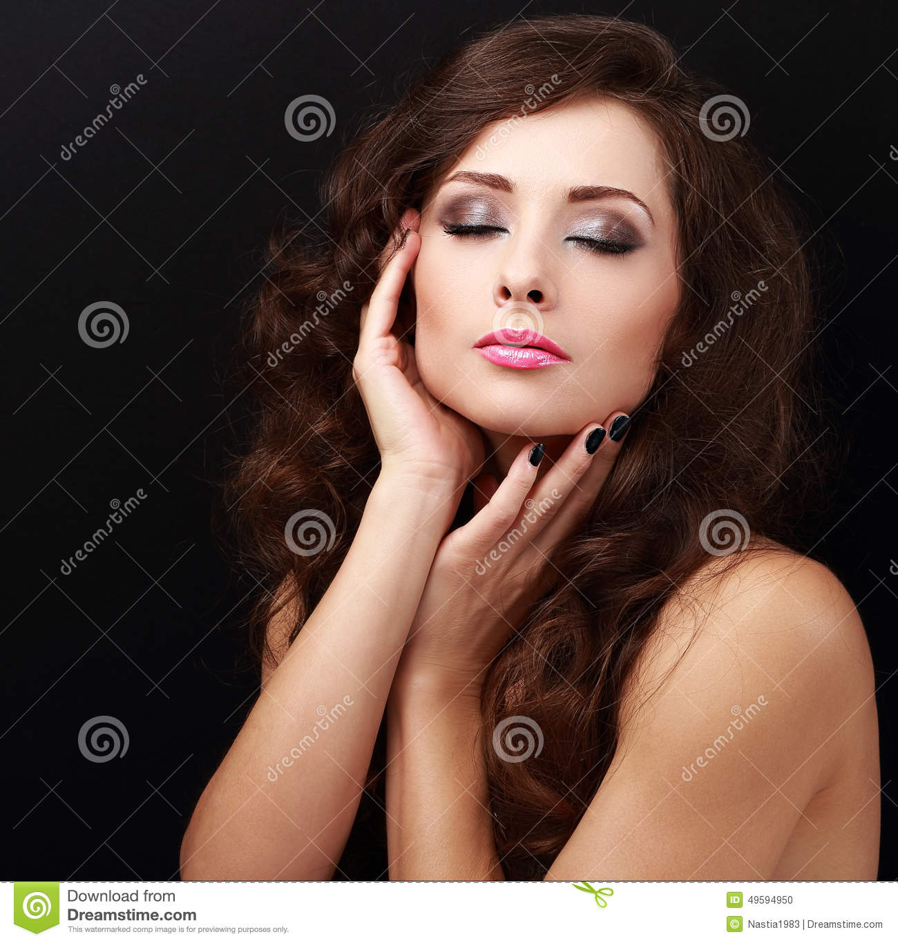 Beautiful Bright Makeup Woman With Long Hair And Closed