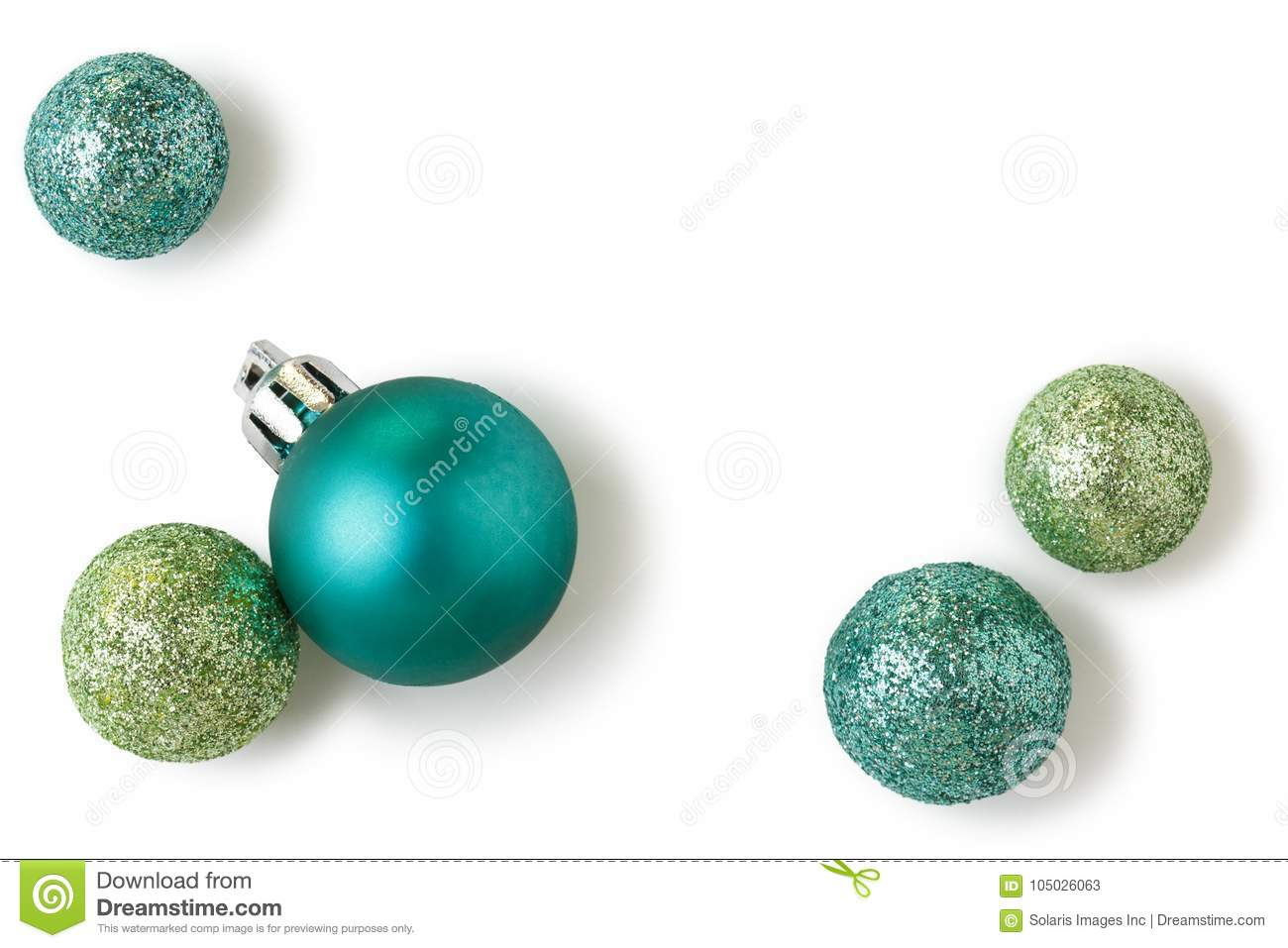 Beautiful, bright, modern Christmas holiday ornaments decorations in contemporary colors isolated on white background