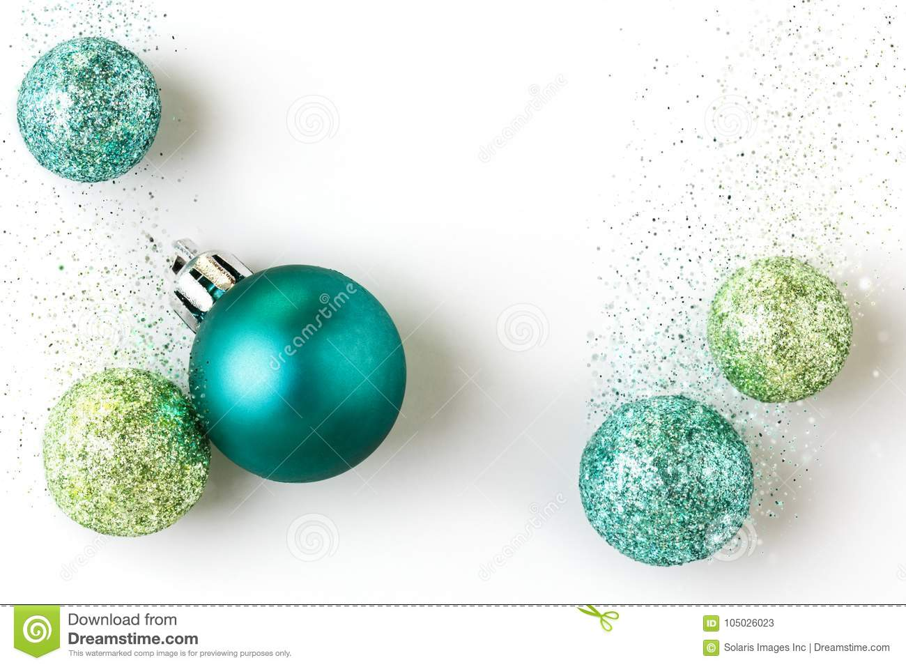 Beautiful, bright, modern Christmas holiday ornaments decorations on white background with luxe glitter effect