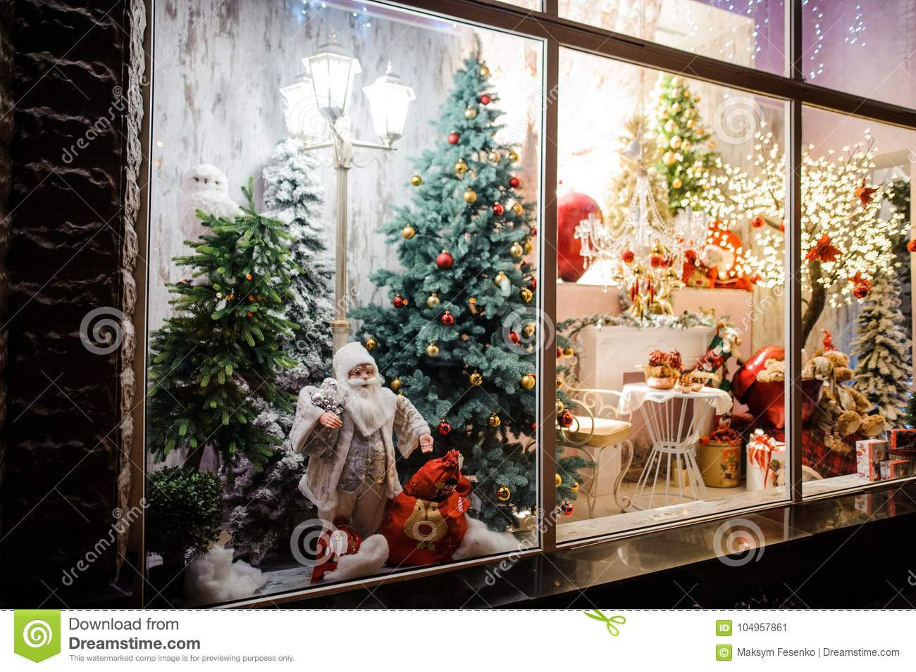 beautiful and bright showcase of shop with christmas gifts