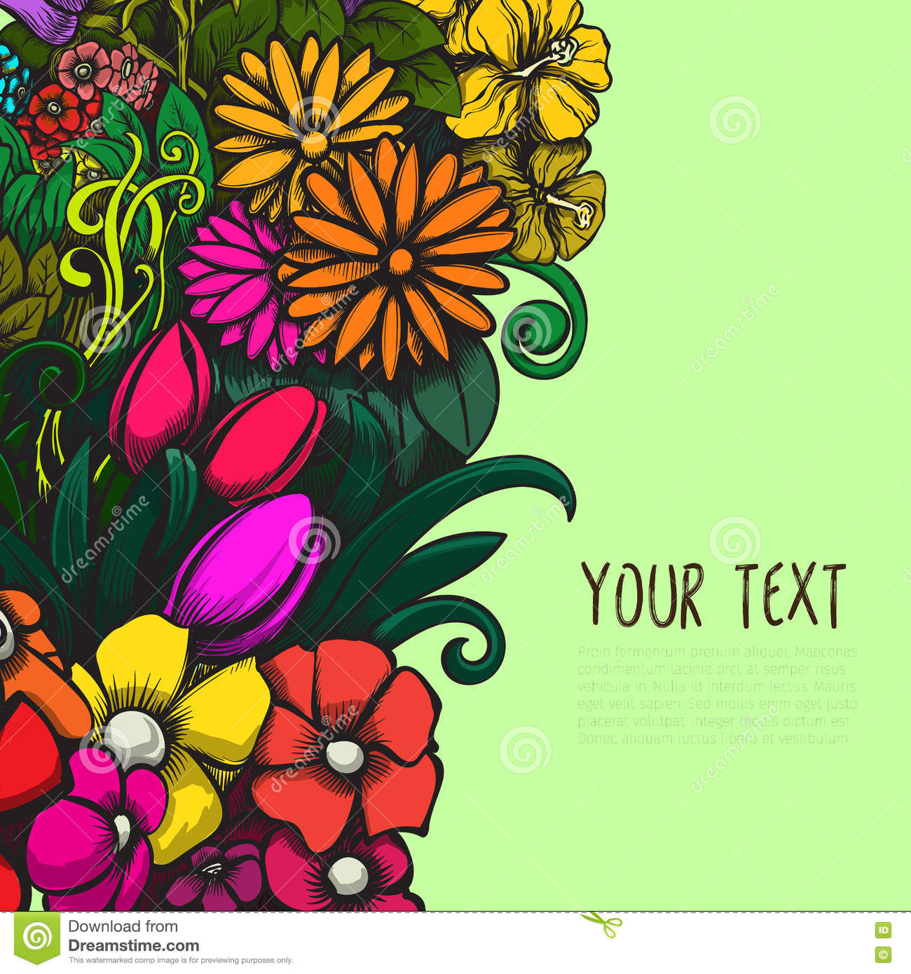 Beautiful Bright Vector Design With Colorful Floral Background For