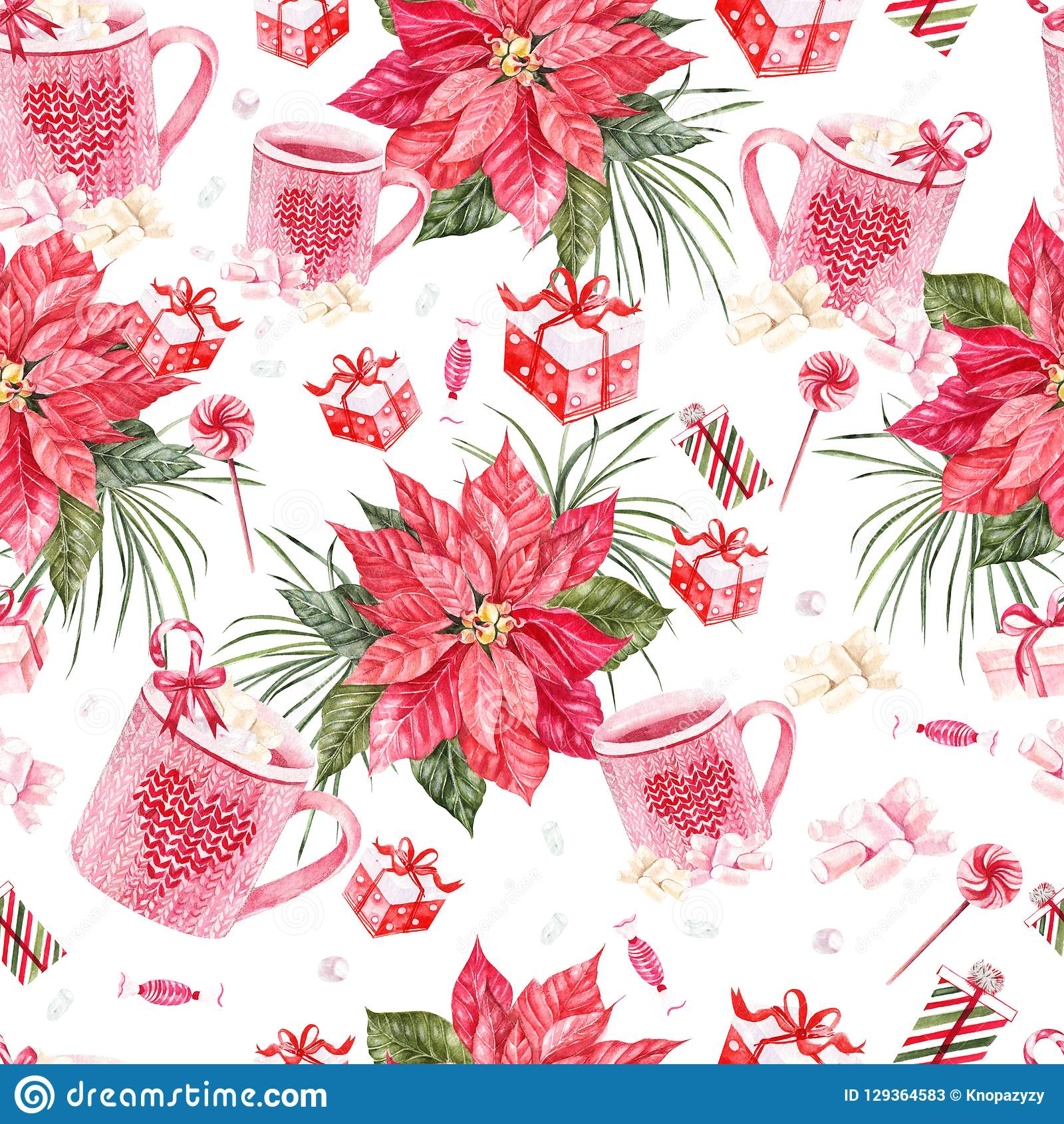 Beautiful Bright Watercolor New Year Pattern With ...