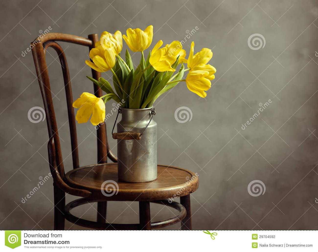 Still Life With Yellow Tulips Stock Photography Image