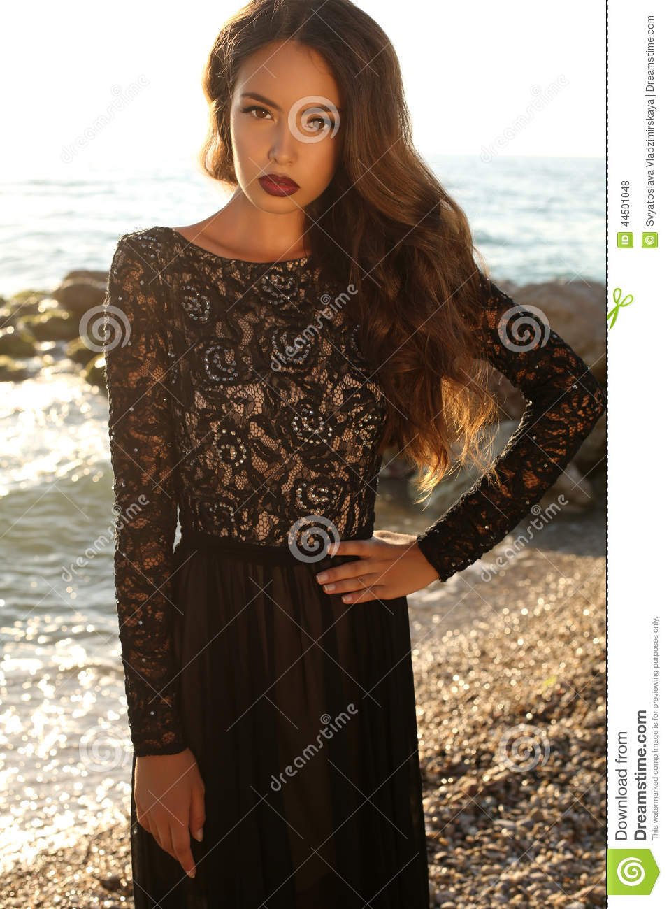 Not Brunette black lace dress your place