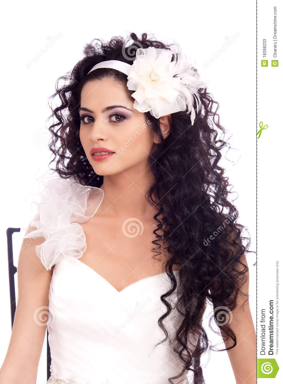 Beautiful Brunette Bride With Long Curly Hair Stock Photos - Image: 18268233