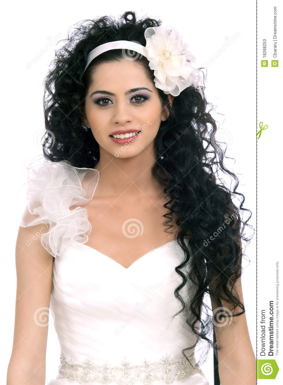 Beautiful Brunette Bride Woman With Curly Hairstyle And