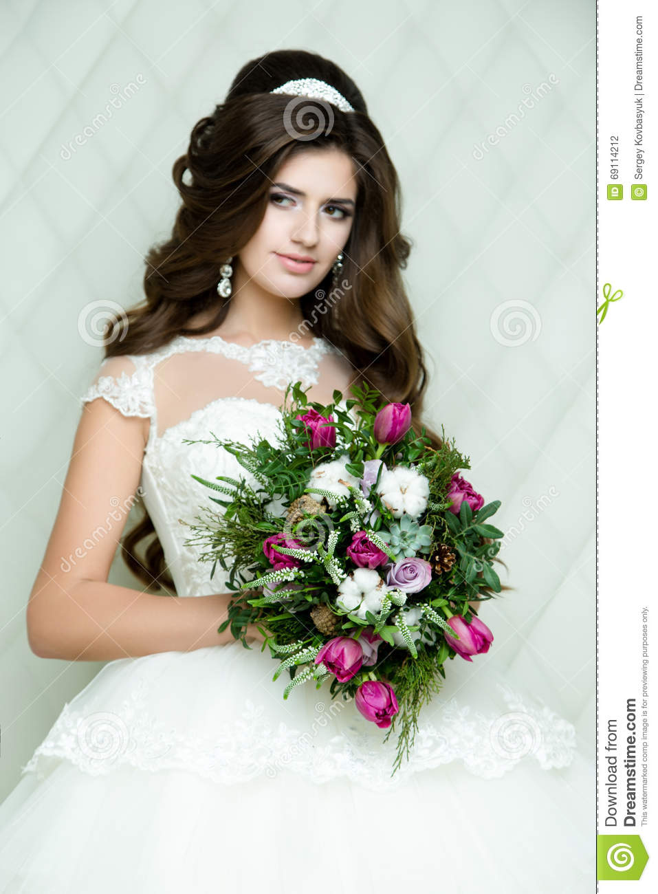 Beautiful Brunette Bride Portrait Wedding Makeup And