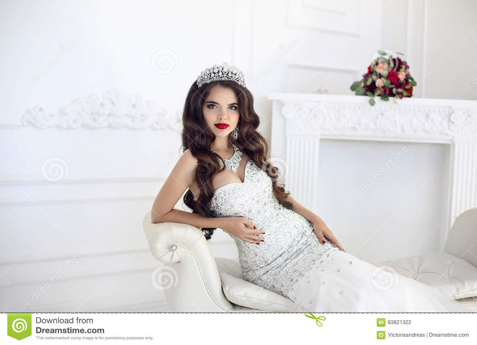 Beautiful Brunette Bride Wedding Portrait Red Lips Makeup Long