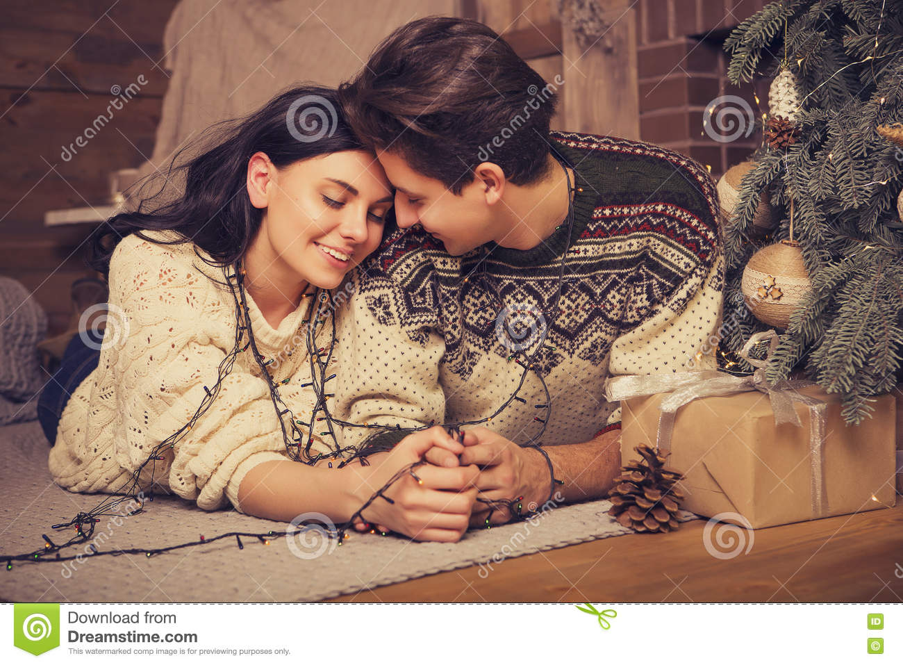Beautiful Brunette Caucasian Romantic Loving Couple In Cozy Warm