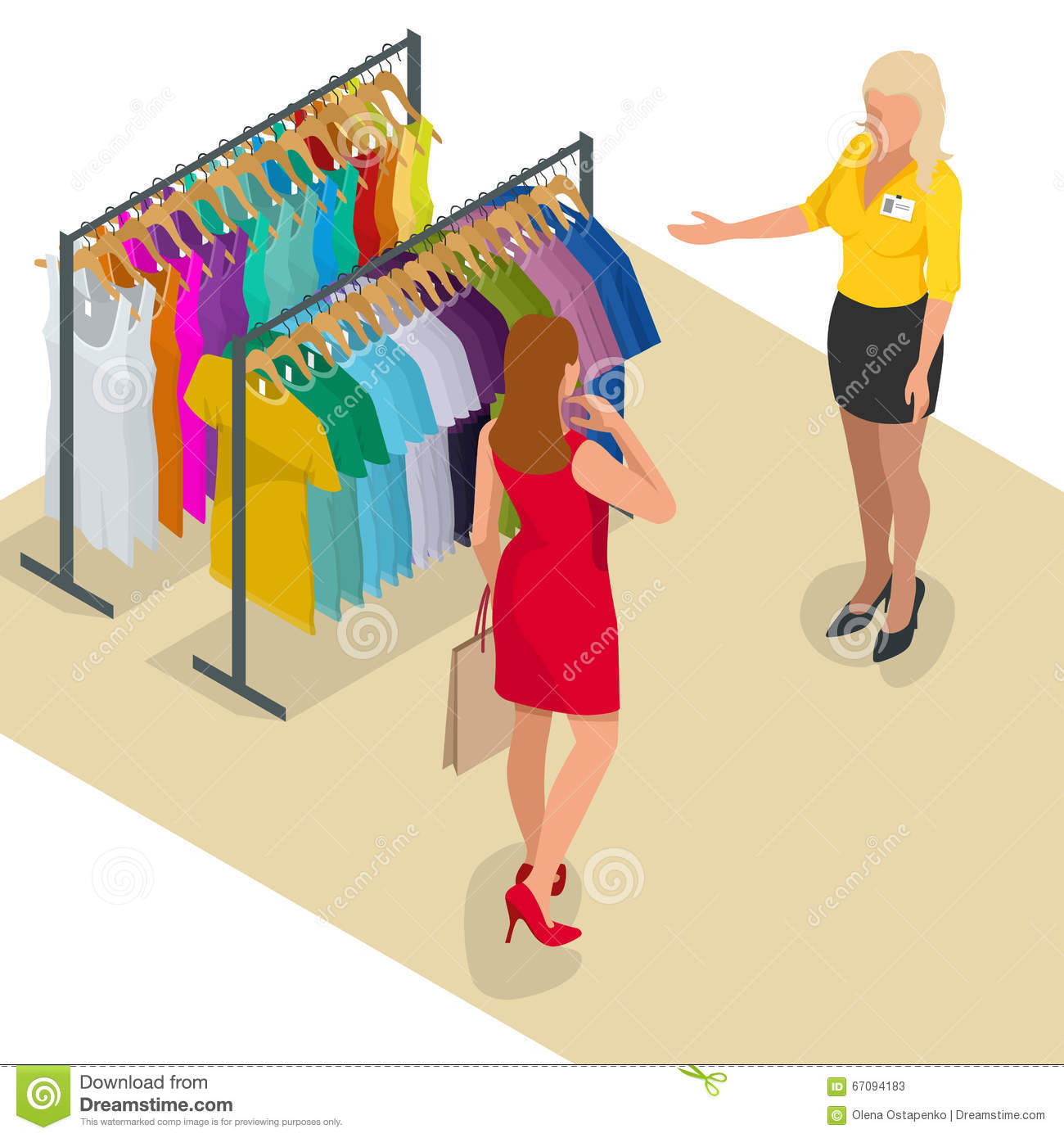 Beautiful brunette doing shopping in clothes store. Shopping time. Woman at the checkout makes shopping. Flat 3d