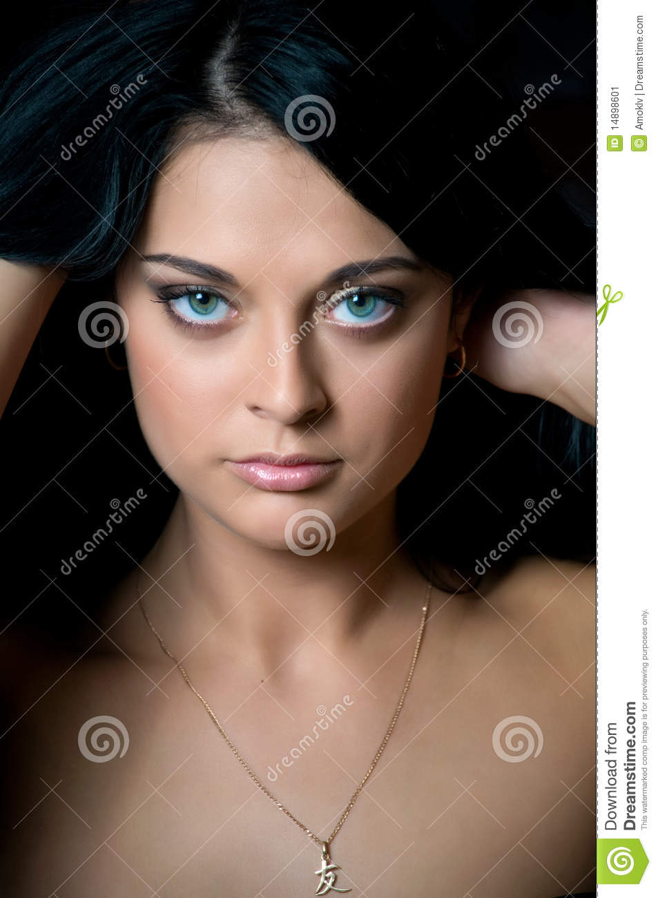 Beautiful Brunette Face Isolated On Black Stock Image