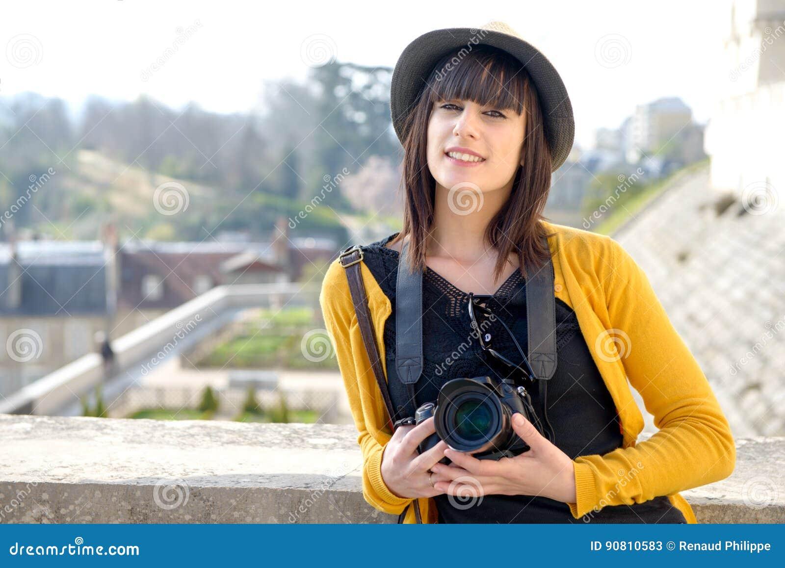 Beautiful Brunette Girl Holding Camera Visiting French City Pau Pyrenees