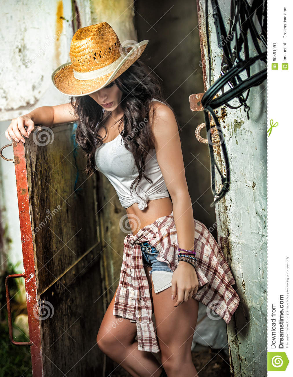 Beautiful Brunette Girl With Country Look Indoors Shot In