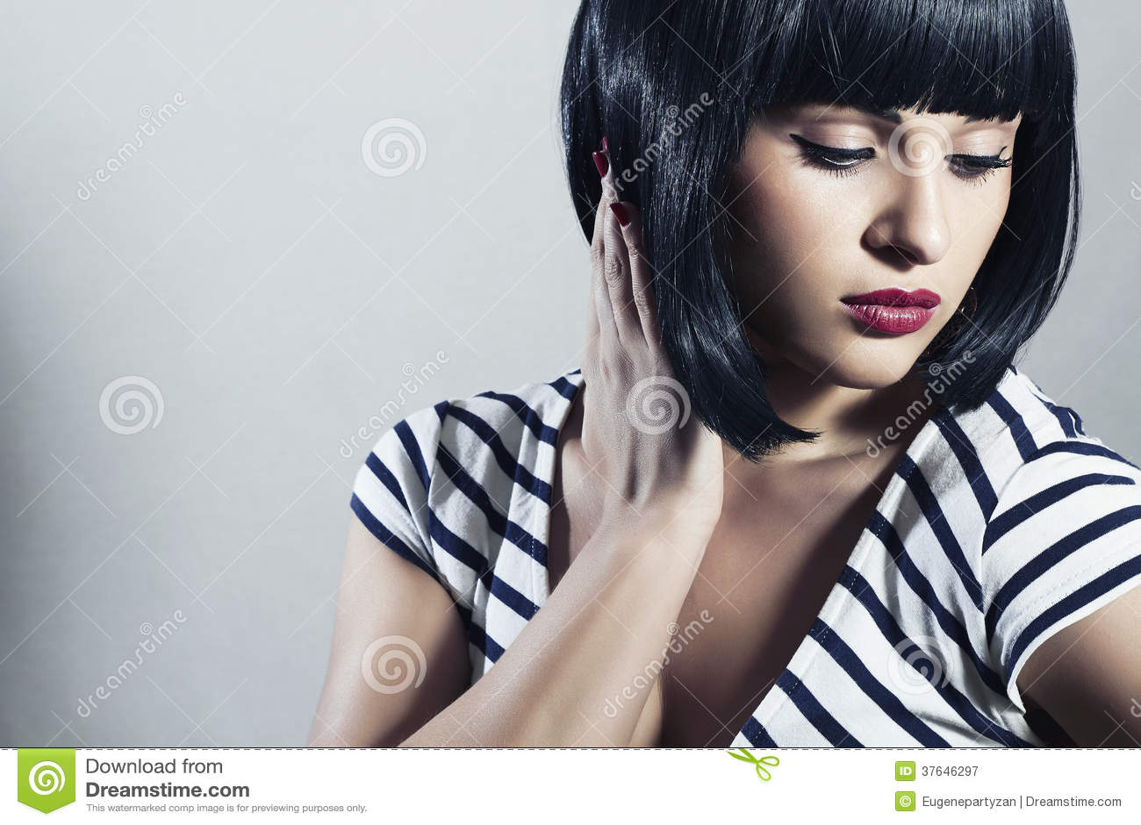 Beautiful Brunette Girl In Dress Black Hair Bob Haircut Red Lips Beauty Woman With Fringe