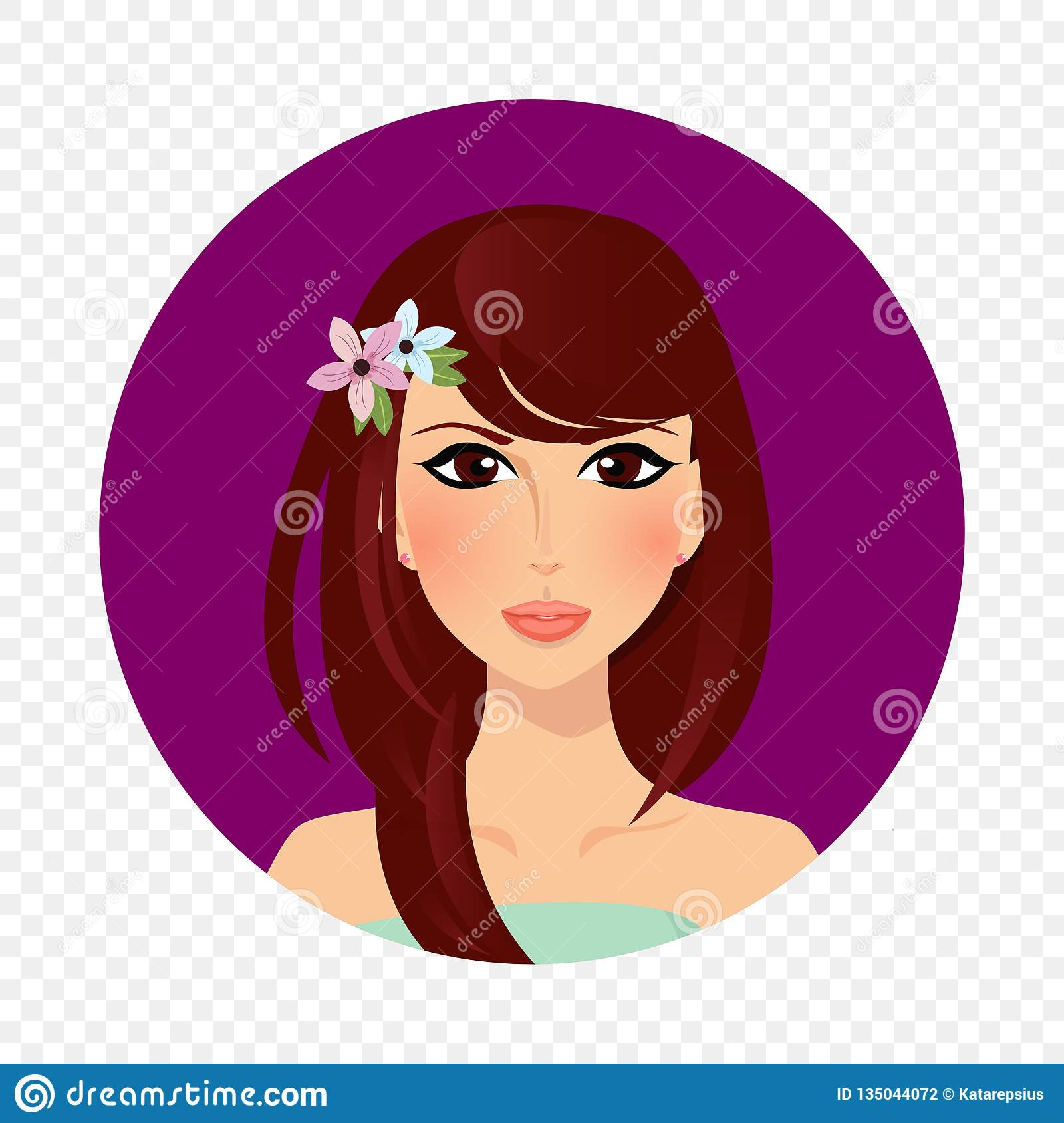 Beautiful Brunette Girl With Hazel Eyes And Long Hair Style Round Icon Stock Vector Illustration Of Cosmetics Character 135044072
