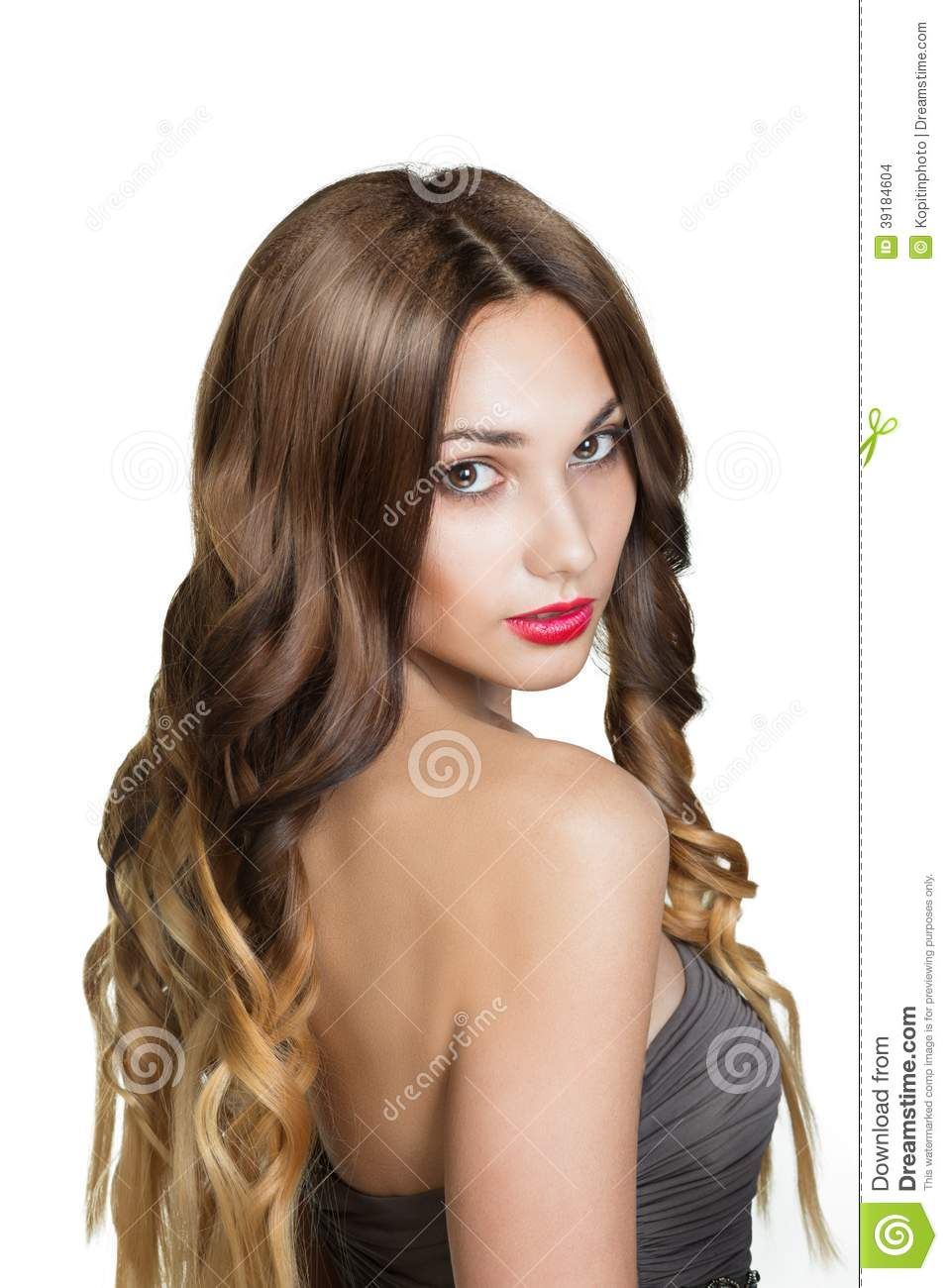 Girl With Long Healthy Brown Hair Royalty Free Stock