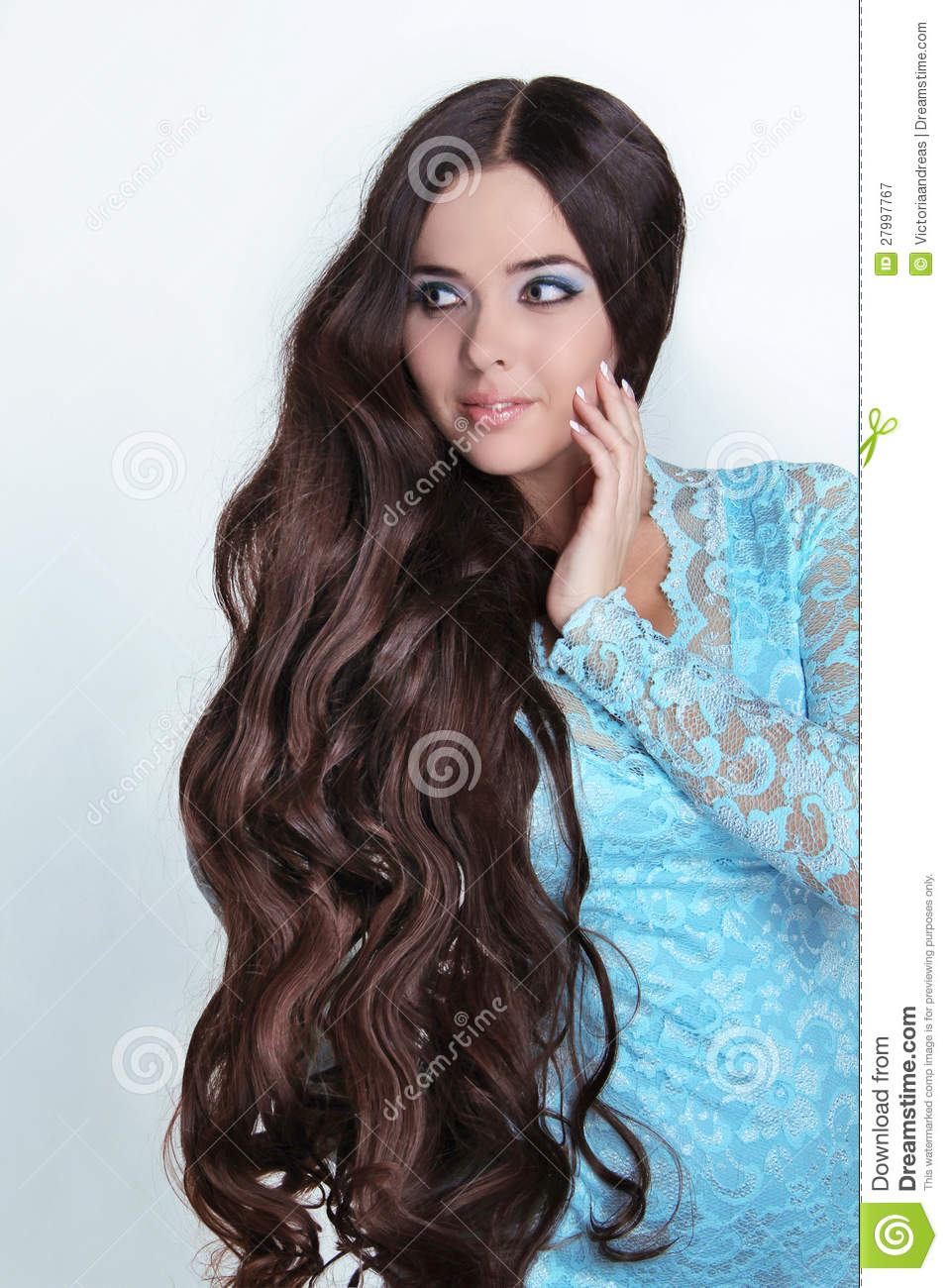 Beautiful Brunette Girl  Healthy Long Curly Hair  Royalty Free Stock