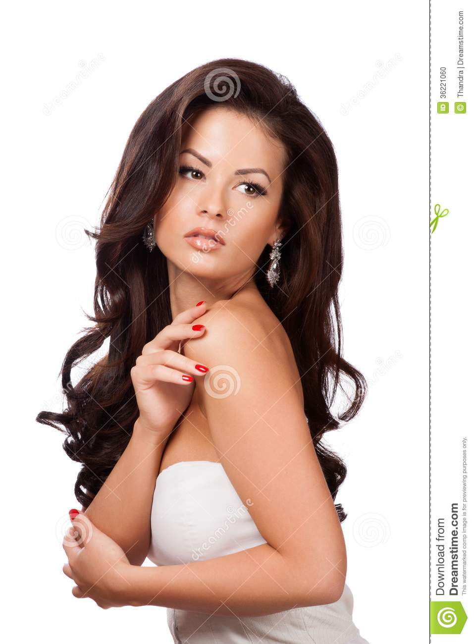 Beautiful Brunette Girl With Healthy Long Hair Stock Photo