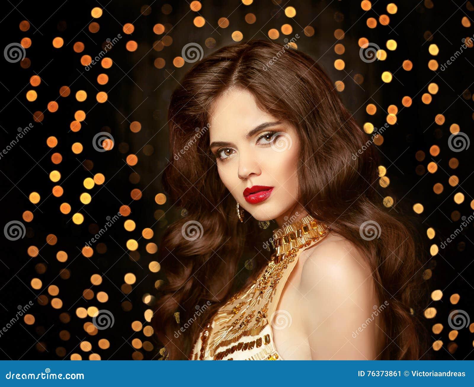 Beautiful Brunette Girl With Long Shiny Wavy Hair Elegant Lady