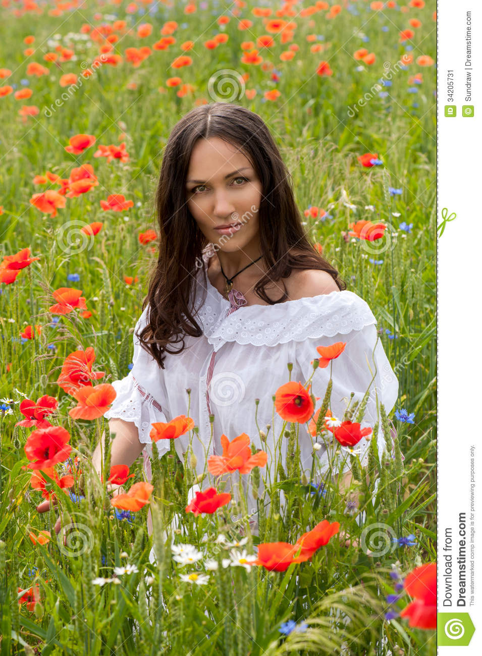 Beautiful brunette girl in poppy filed
