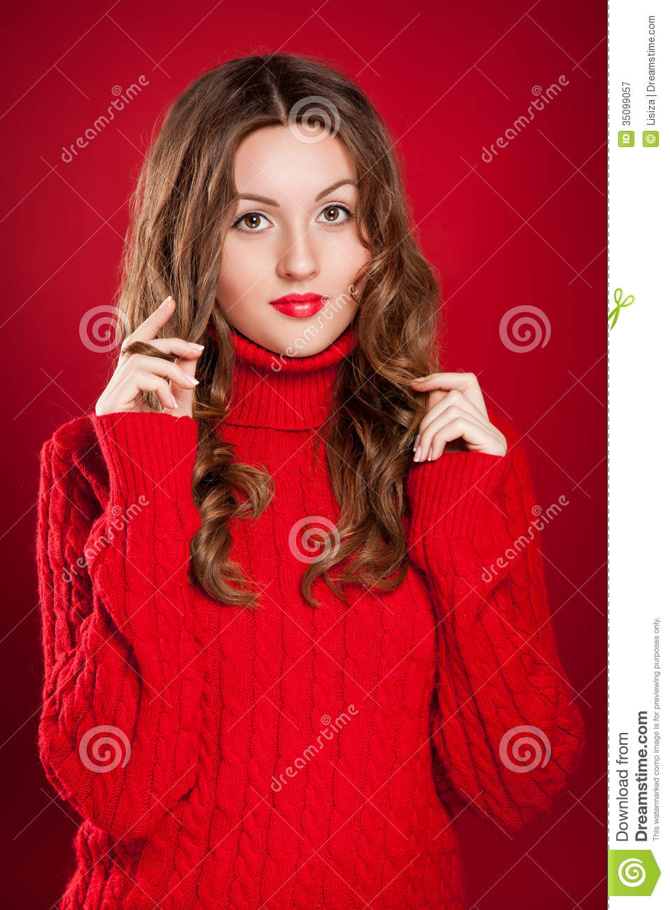 Beautiful Brunette Girl Wearing Red Sweater Royalty Free ...