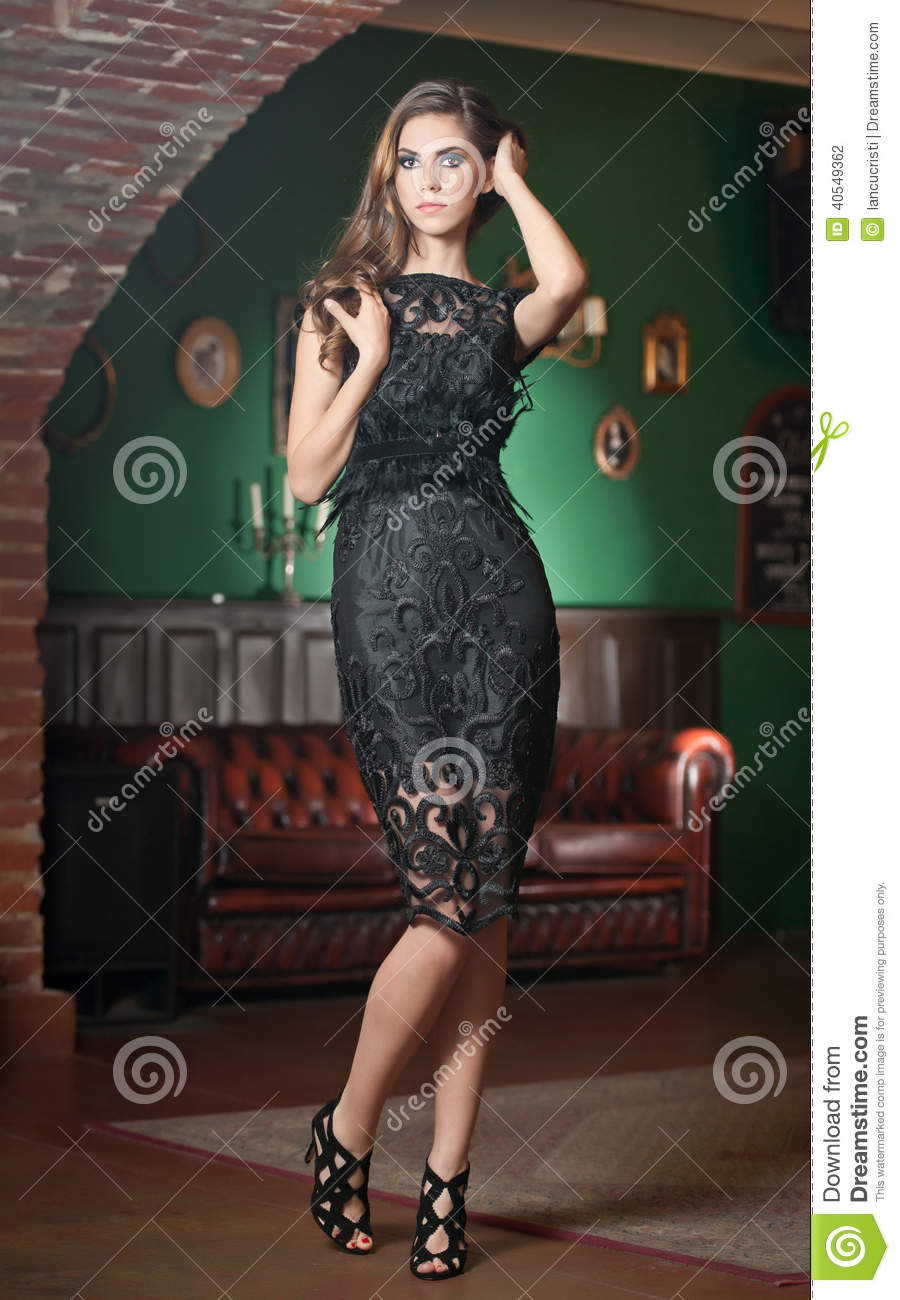 black lace dress Brunette