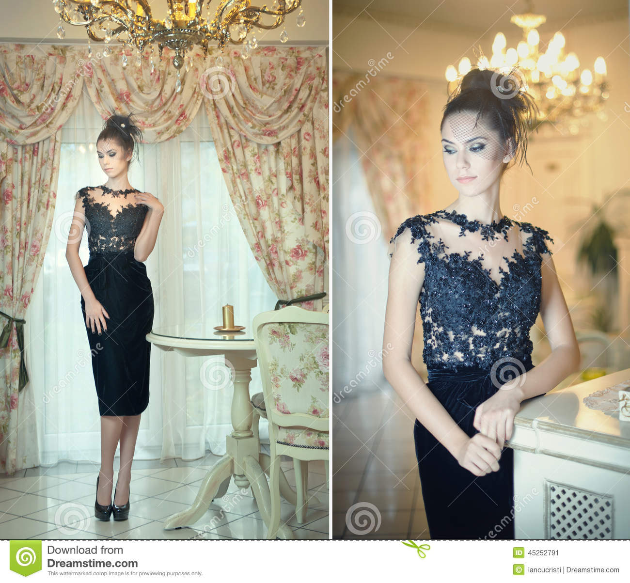 lace dress black Brunette
