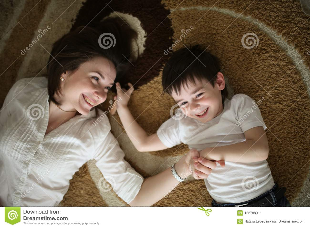 Beautiful Brunette Mom Playi And Hugging With Son