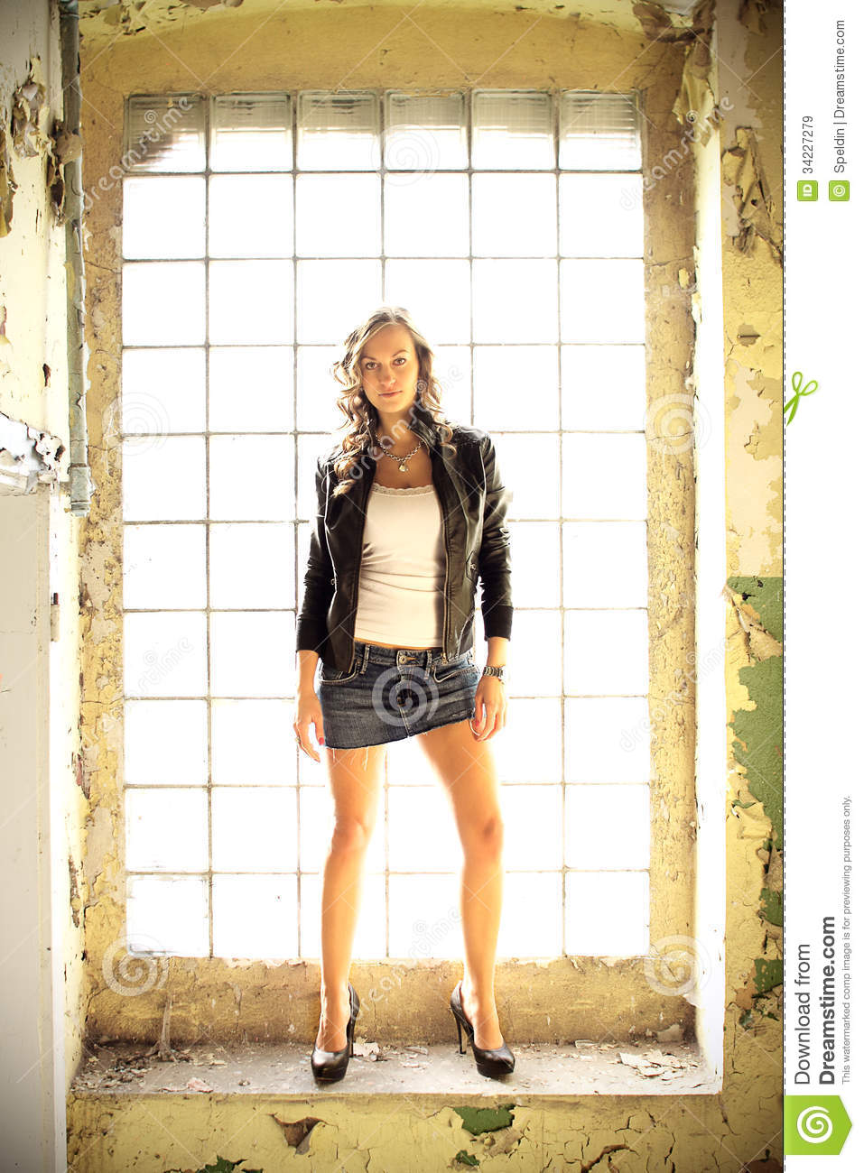 Beautiful Brunette In A Old Building Royalty Free Stock ... Denim Jacket Photography