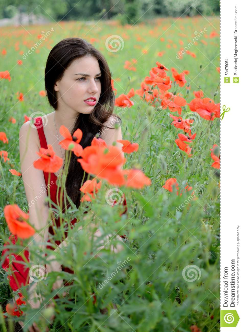 Beautiful Brunette With Poppies Stock Photo Image 58475054