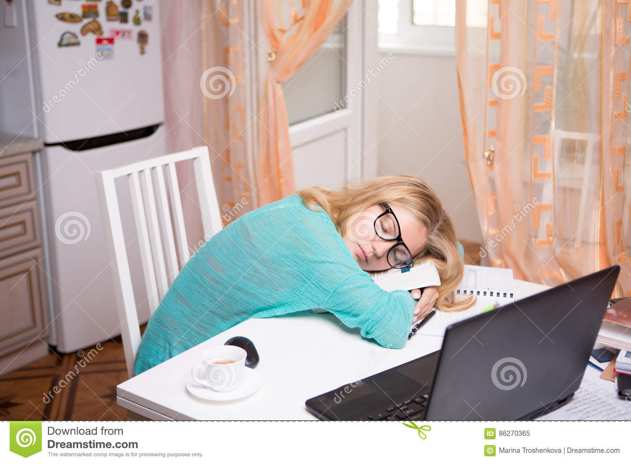 Beautiful Brunette Sleeping With Papers Stock Image - Image of ...