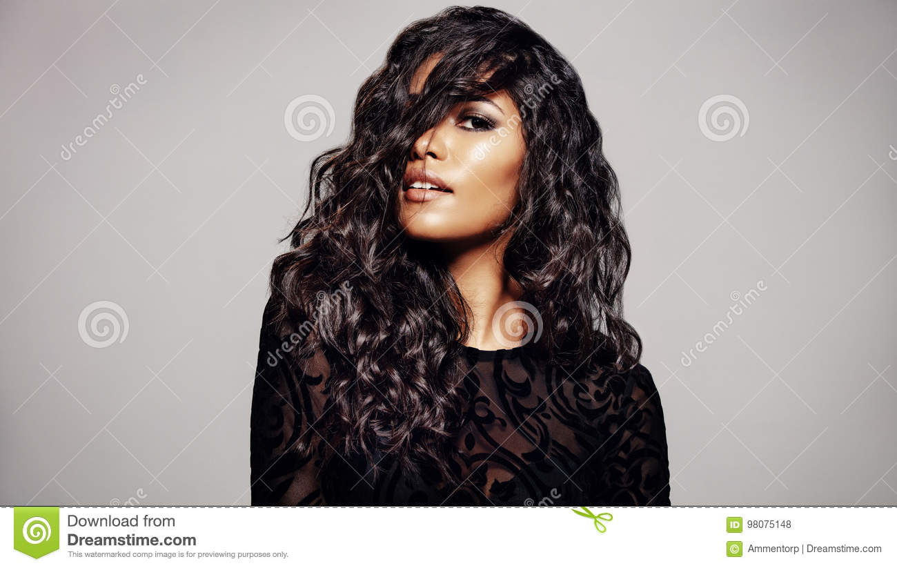 Beautiful Brunette With Wavy Hairstyle Stock Photo Image