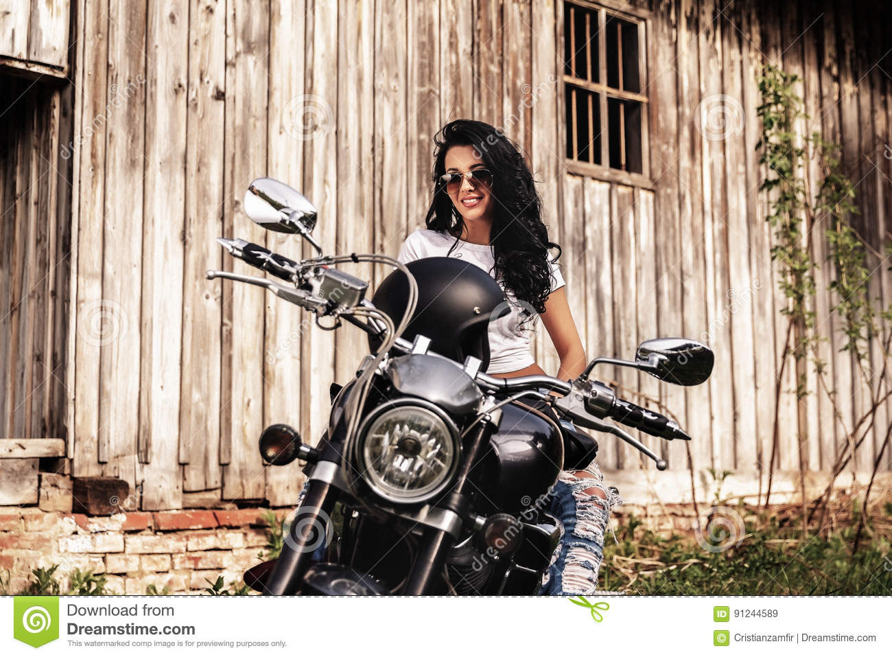 motorcycle photography c  Beautiful Brunette Woman With A Classic Motorcycle C Stock Image ...