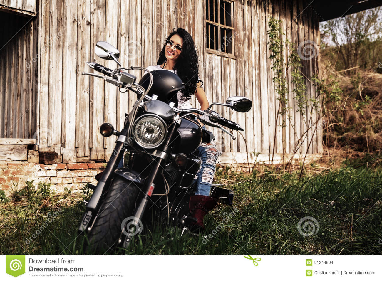 motorcycle photography c  Beautiful Brunette Woman With A Classic Motorcycle C Stock Photo ...