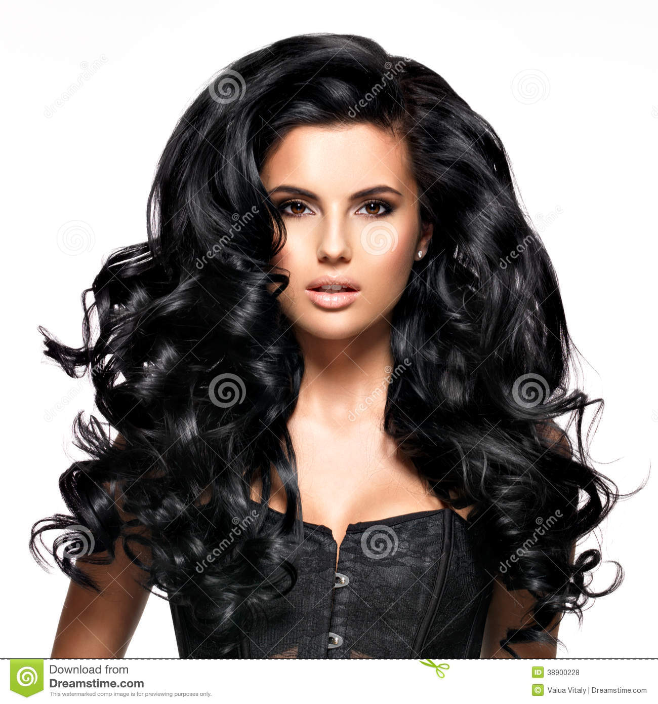 Beautiful Brunette Woman With Long Black Hair Stock Photo
