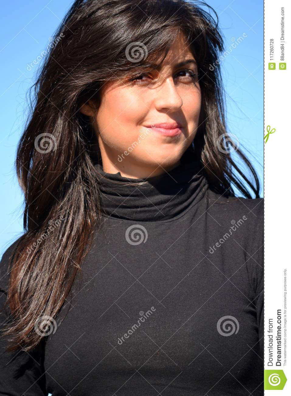 Happy Woman on a Blue Sky Background