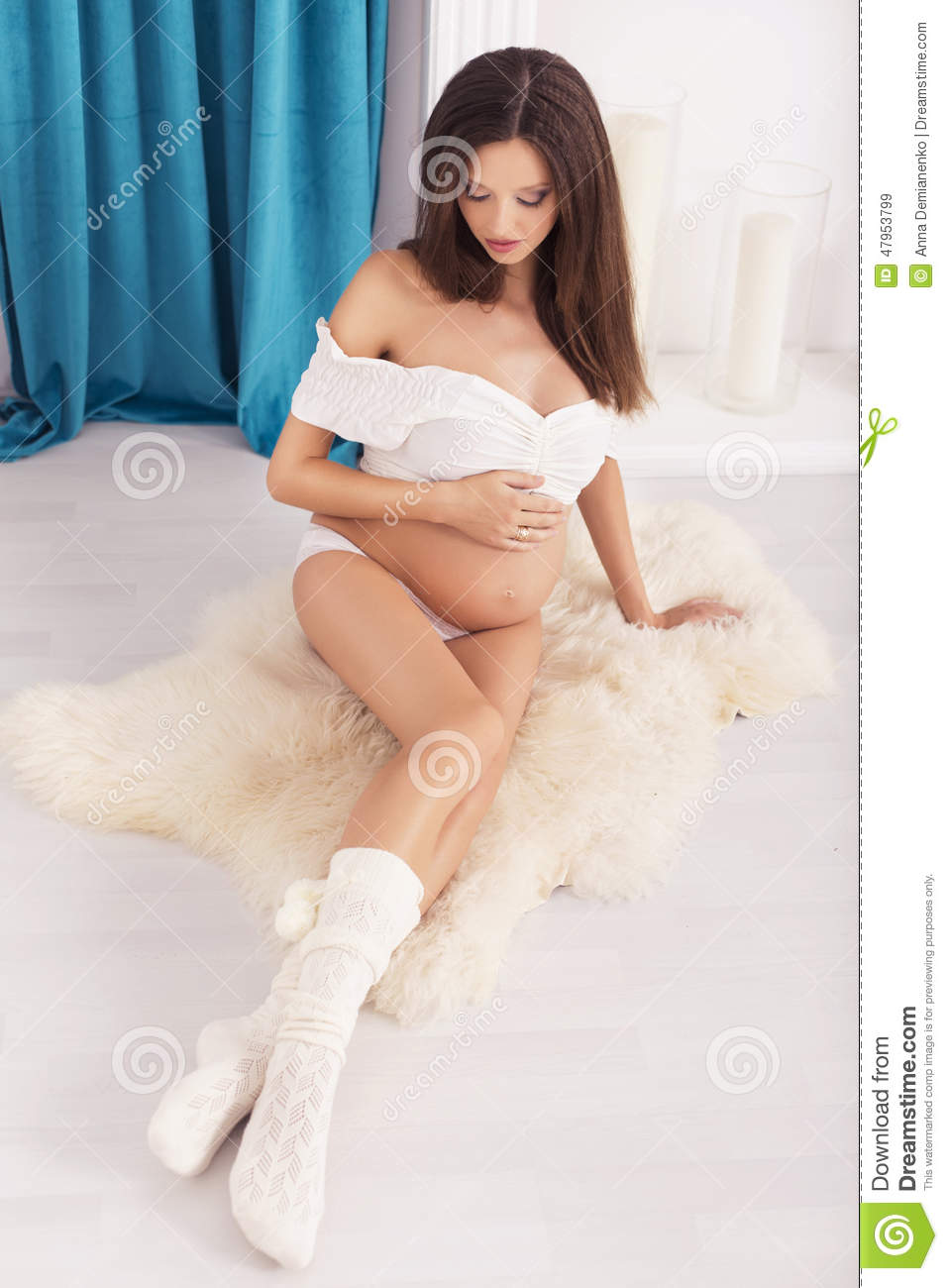 Beautiful Brunette Woman On A 7th Month Pregnancy In White ...