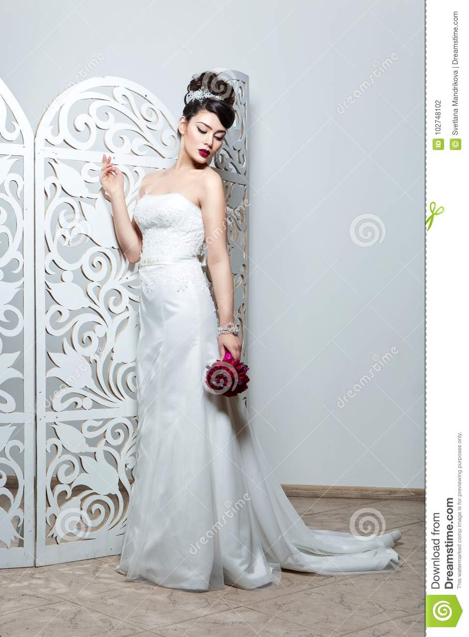 Beautiful Girl In Wedding Gown Stock Photo - Image of decolette ...