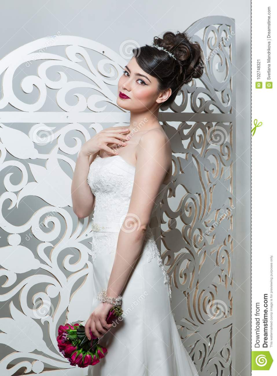 Beautiful Girl In Wedding Gown Stock Image Image Of Bride