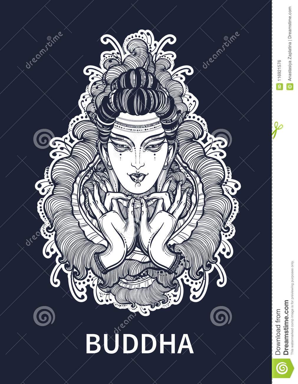 1bd409eea4f7d Beautiful Buddha face with hands over high-detailed floral decoration.  Isolated vector illustration. Sign for tattoo and print.