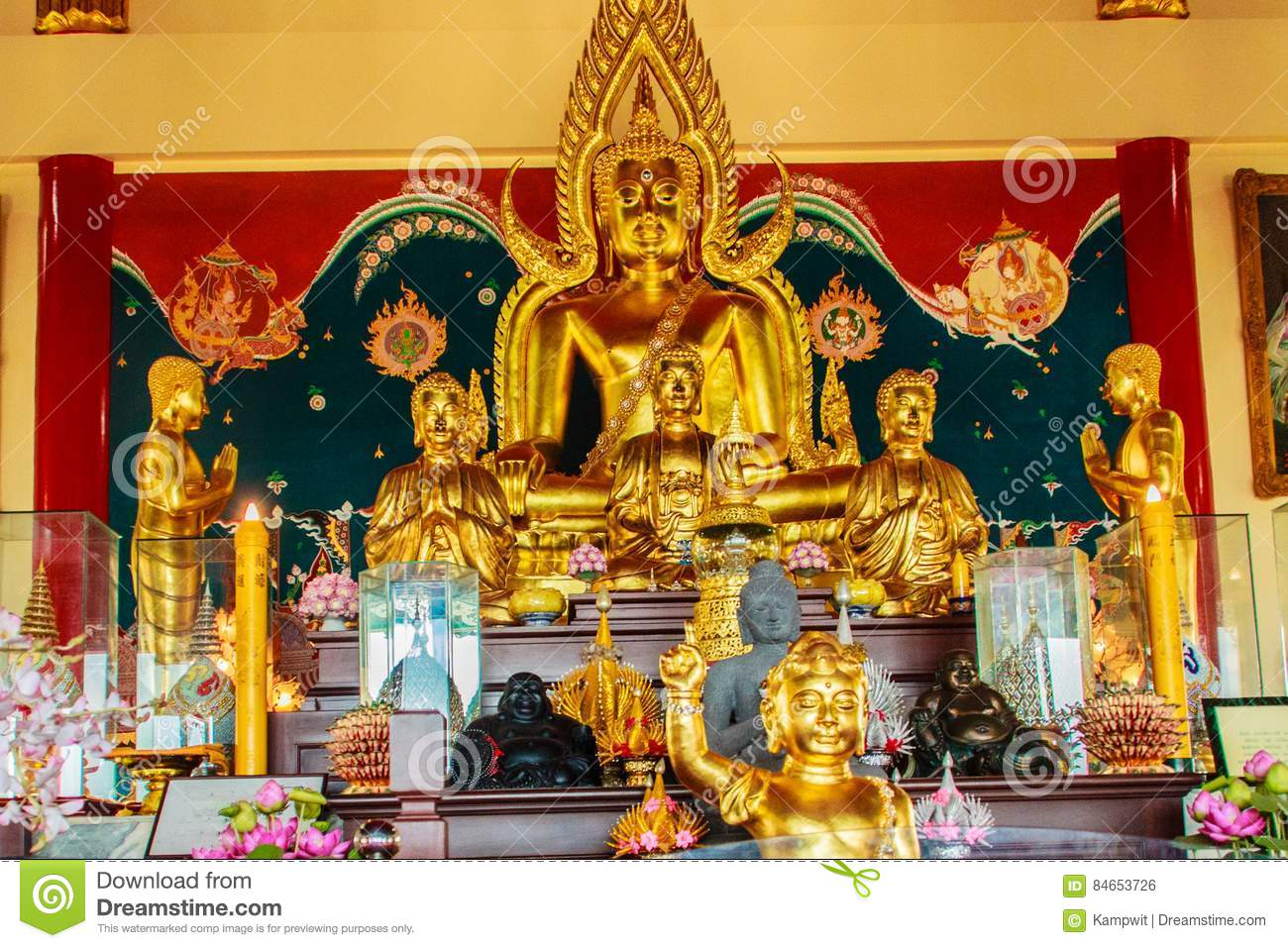 Beautiful Buddha image sculpture at Anek Kusala Sala Viharn Sien, Thai-Chinese temple in Pattaya, Thailand. It was built in 1987