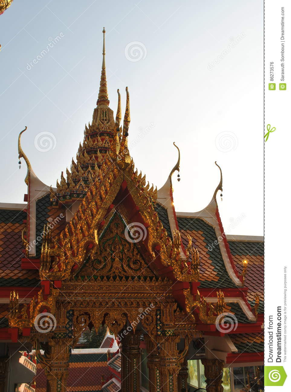 Beautiful buddhist building wat buakwan nonthaburi thailand