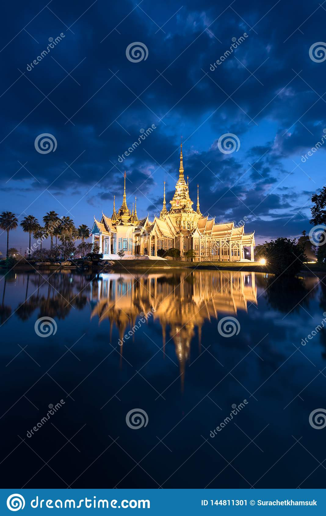 Wat Non Kum or Non Kum temple at twilight, famous place of Nakhon Ratchasima, Thailand