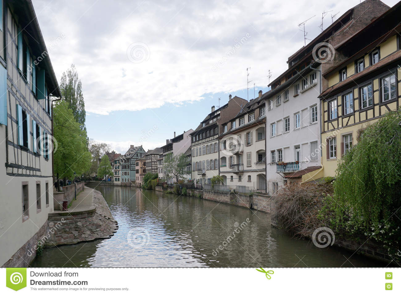 Beautiful building along the river in old town of Strasbourg
