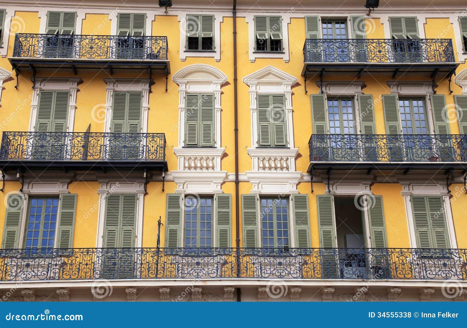 Beautiful Building Facade Nice France Ornate Yellow Balcony Traditional Green Shutter Windows Cote D Azur