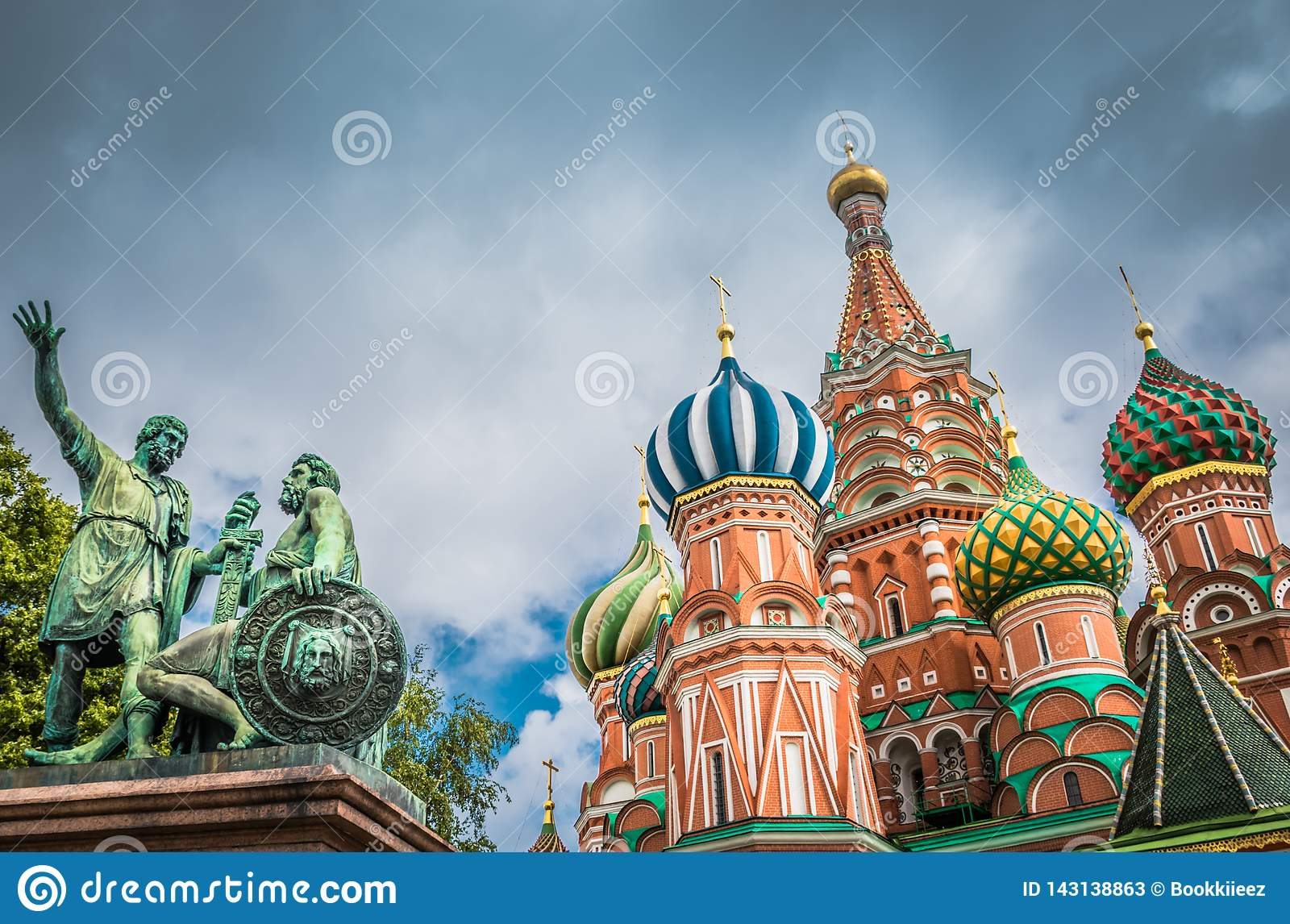 St. Basil`s Cathedral and monument at Red square in Moscow, Russia.